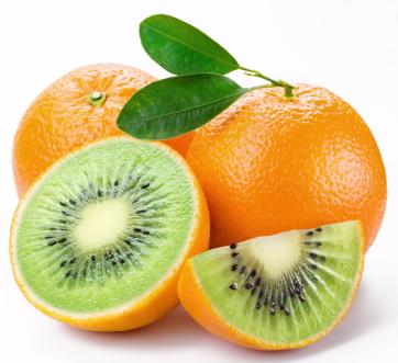 Flesh kiwi cut ripe orange. Product of genetic engineering. Computer assembly.